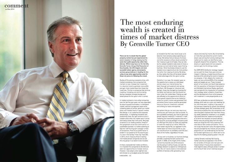 ''The most enduring wealth is created in times of market distress'', by Grenville Turner, CEO at Countrywide.