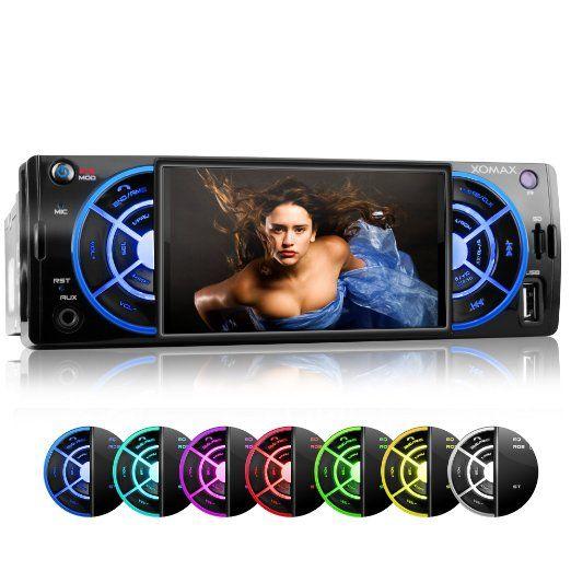 XOMAX XM-VRSU412BT Autoradio / Moniceiver + File audio e video: MP3 (inclusi tag ID3), WMA, MP4, AVI + Funzione senza fili Bluetooth e riproduzione musicale tramite A2DP + 7 LED colori: blu, rosso, giallo, viola, rosa, verde, bianco, turchese. + Senza lettore CD + Porta USB fino a 32 GB! + Slot per schede Micro SD fino a 32 GB! + Sintonizzatore radio RDS + Collegamento per telecamera retromarcia + Dimensioni standard singolo DIN (1DIN) + Telecomando, plancia e mascherina inclusi