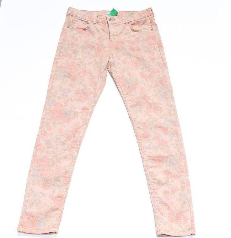 Jeans Hose Damen Benetton 38 M (UK 12, US8) Blumen Neu Baumwolle aus Italien!