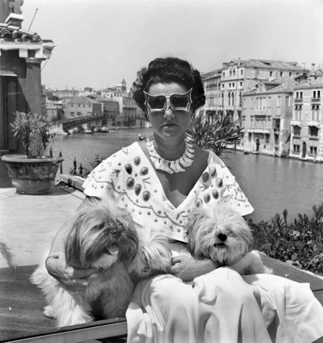 Venice. Mrs Peggy Guggenheim in her palace on the Grand Canal. 1950 , 1950 - David Seymour    I want her sunglasses!