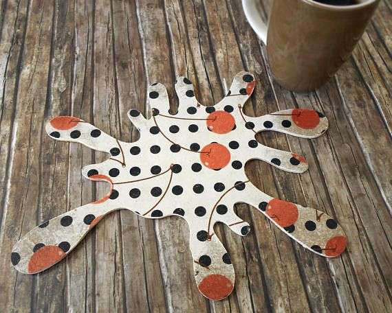 Polka Dots Decor  Rustic Coaster  Bakery Decor  Coffee