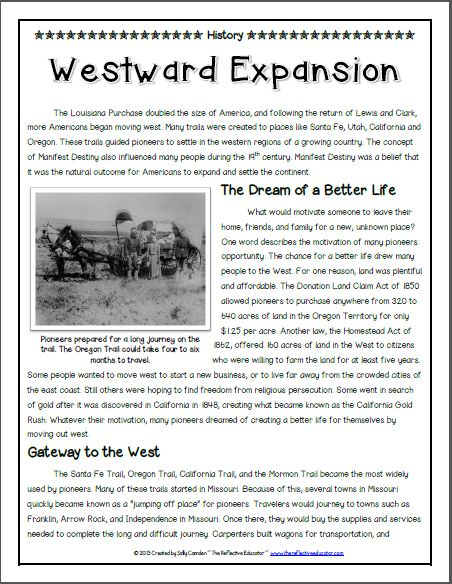 A content-rich informational text is the foundation for our lesson on Westward Expansion.