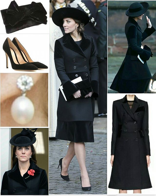28 November 2016 The Duke and Duchess of Cambridge joined several members of the Royal family to pay tribute to the sixth Duke of Westminster at a memorial service. The Duchess wore the black Alexander McQueen coat she debuted at Remembrance Sunday in 2015 (last pic in left) The coat is believe to be a bespoke piece based on the similar Velvet Trim Double-Breasted Wool Coat. Below we see it at Lane Crawford where it retailed for $2,045. @_duchesskatemiddleton