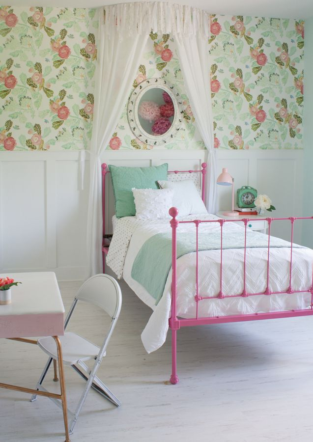 Aqua and pink girls bedroom | The Lilypad Cottage