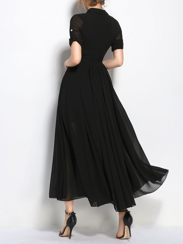 Shop Maxi Dresses - Black Slit Shirt Collar Short Sleeve Chiffon Maxi Dress online. Discover unique designers fashion at StyleWe.com.