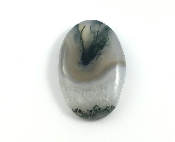 Moss Agate Cabochon from India  Healing by SacredGemstoneStore