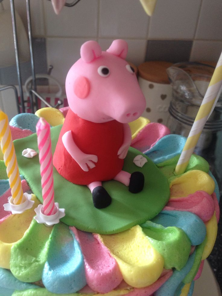Peppa Cake topper made with walnut whip body!