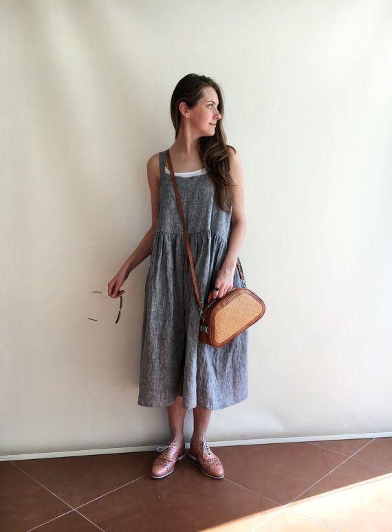 Linen Dress Pinafore Dress Sleeveless Maxi Dress by linenbees