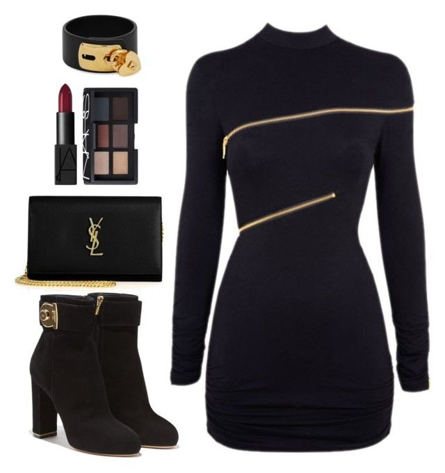 """Black is in season"" by tanjii-c on Polyvore featuring Yves Saint Laurent, Agent Provocateur, Salvatore Ferragamo, Valentino and NARS Cosmetics"