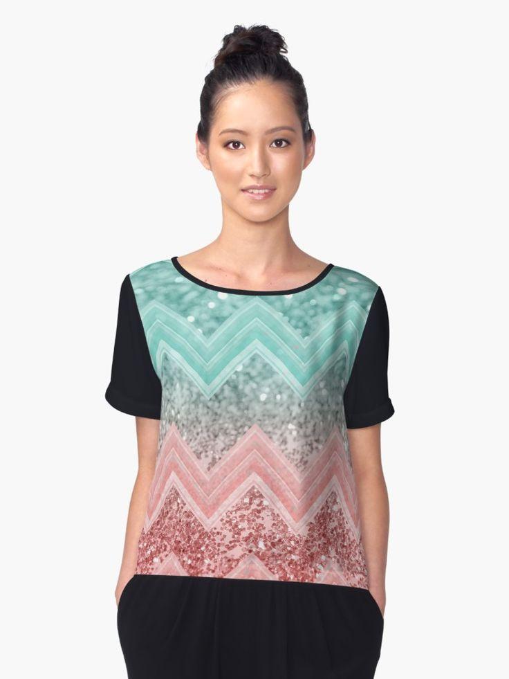 """Summer Vibes Glitter Chevron #1 #coral #mint #shiny #decor #art "" Women's Chiffon Top by anitabellajantz   Redbubble"