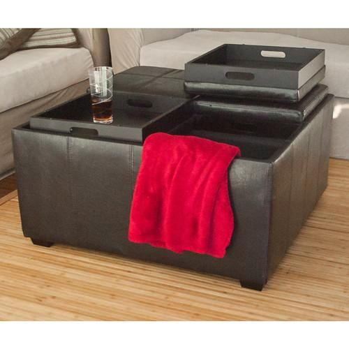 Leather Ottoman With 4 Tray Tops Storage Bench Coffee Table Leather New