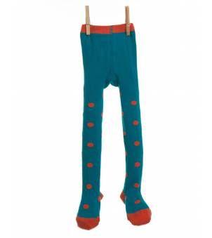 Spotty tights in blue/orange