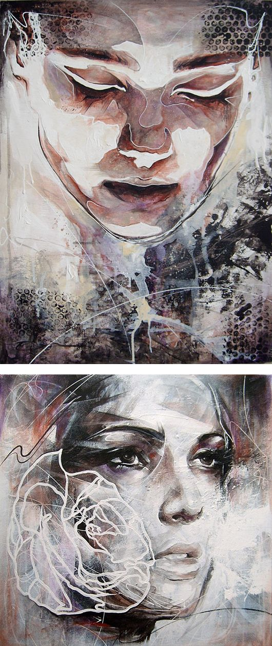 Color painting using abstract shapes and brush strokes and splatters, face/portrait
