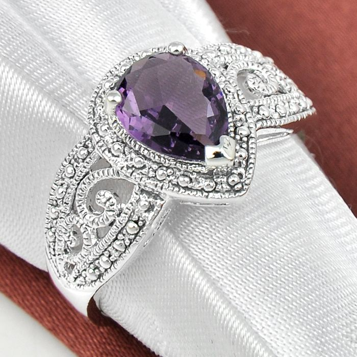 Promotion Jewelry Luckyshine Vintage Squre Fire Amethyst Silver Plated Wedding Rings Russia USA Holiday Australia Rings