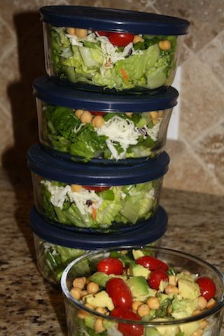 Salads for a week! Do a little on Sunday and reap the benefits all week long! oooh good idea!  I love salad, but hate making them, just gotta do it once this way!