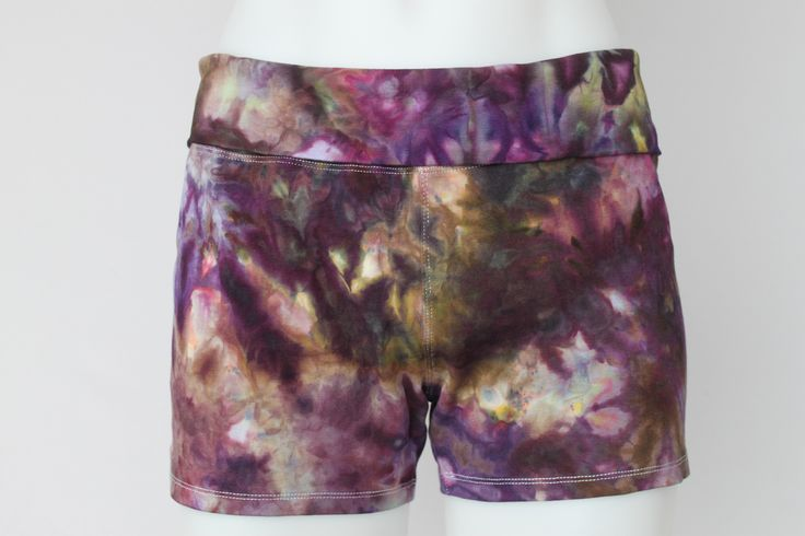 Ladies Large yoga shorts ice dye - Turkish Heirloom crinkle by A Spoonful of Colors Find this item on https://aspoonfulofcolors.com