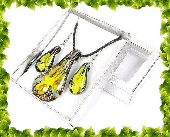 Boho chic Bohemian Glass SET earrings necklace by BeeOkJewelry