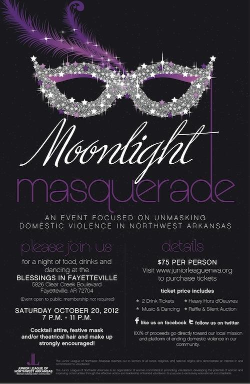 Help unmask domestic violence at Junior League of Northwest Arkansas' Moonlight Masquerade!