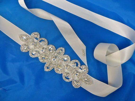 Bridal Rhinestone Sash Beaded  Crystal Sash Wedding Gown by ctroum, $72.00