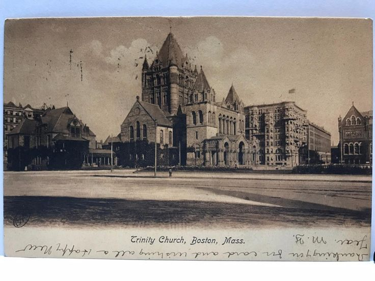 TRINITY CHURCH BOSTON MASS 1907 POSTCARD HISTORICAL VINTAGE POST CARD