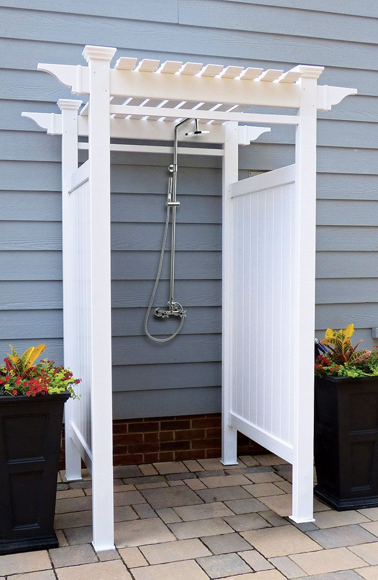 Vinyl components make this house-mounted shower kit topped by a charming pergola easy to maintain – with no need for painting or staining. The kit includes materials for a 3-by-3-foot stall enclosure, which can be surface mounted or attached to footers. The vinyl won't crack, warp, yellow or rot. Hang a standard shower curtain from the stall for privacy.