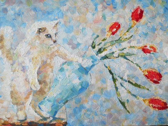 Original Funny cat Oil Painting Oops White Kitten by FrozenLife