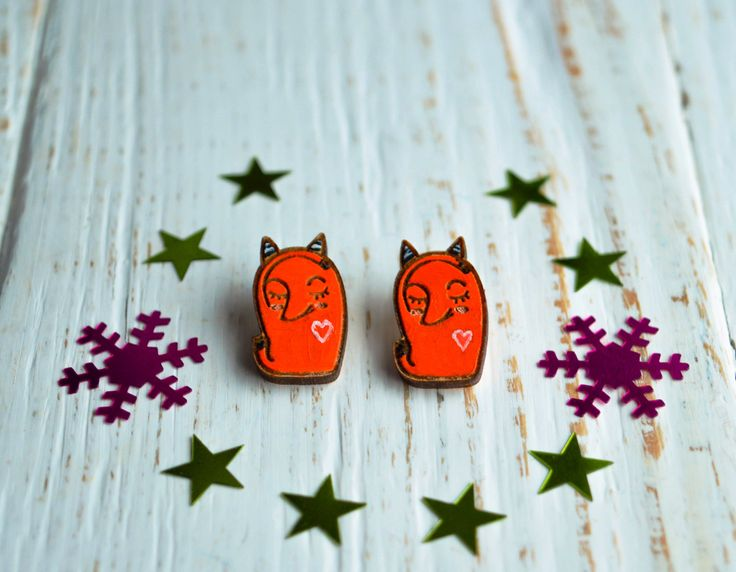 "Wooden Earrings ""Red Fox"", Orange Earrings, Cute Wooden Earrings, Hand Painted by WaterFallWorkshop on Etsy"