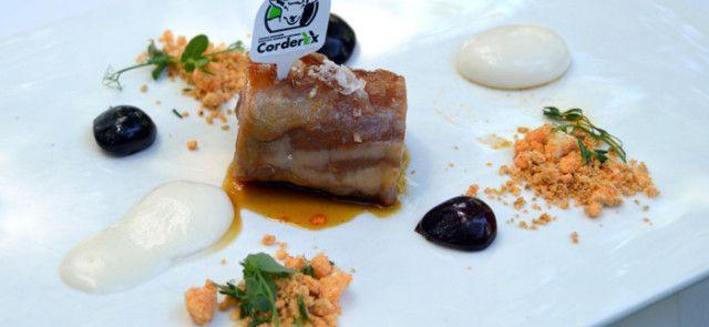 Pieza de cordero confitado con cerezas, migas extremeñas y Queso de La Serena - #receta de Jesús Almagro
