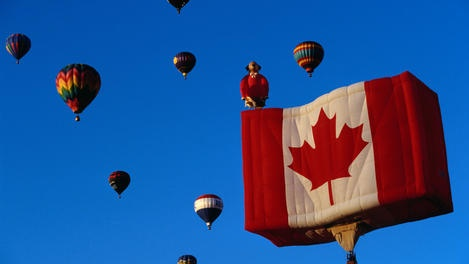 Hot air balloon of Canadian flag.