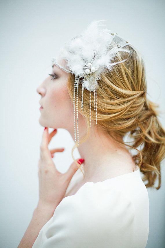 Große Gatsby inspiriert Federn und Tüll Perlen Cap von beretkah