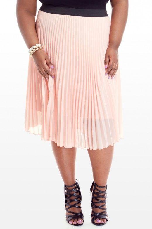 plus size makena pleated midi skirt fashion to figure