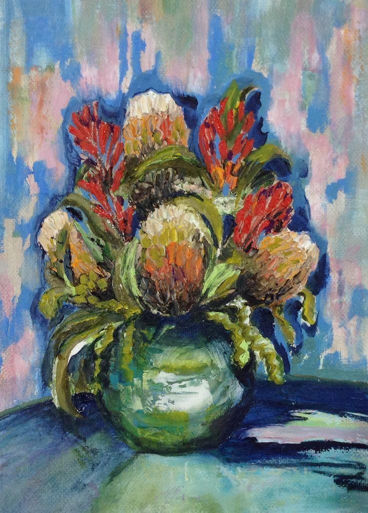 Still life. Australian flowers in vase. Oil.