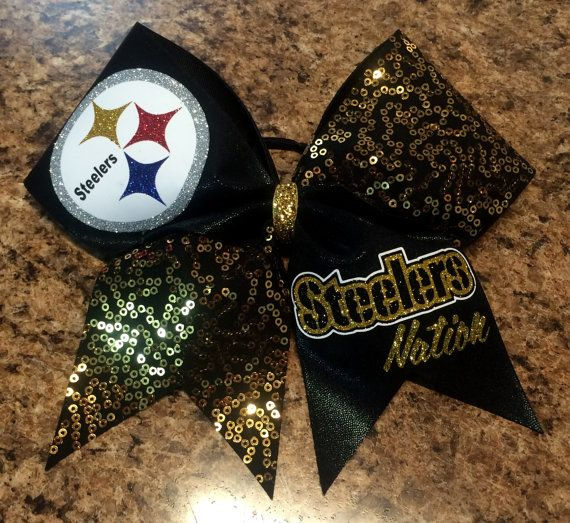Steelers inspired Cheer Bow by Baddablingbows on Etsy, $20.00