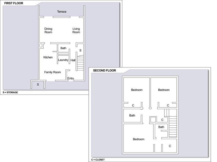 Cfa yokosuka ikego townhouses 3 bedroom townhome floor for 3 bedroom townhouse plans