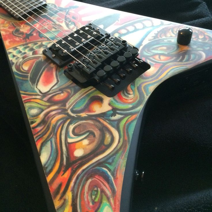 Custom Hand painted Japanese tattooed guitar series. Flying V  body. By Christopher Williams (aka) kingshredder77
