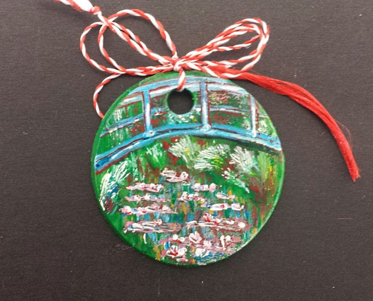 """Pendant -""""Bridge Over a Pool of Water Lilies"""" by Claude Monet- Miniatures"""