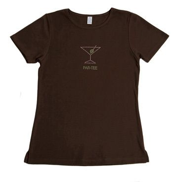 Pink Diva Golf Bling Par Tee Brown Ladies Golf Shirt. Show your golf bling with this pink & green martini styled crystal t-shirt – it's a par-tee at the 19th hole! This ladies golf t-shirt was created