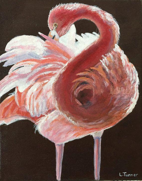 Flamingo Painting, Acrylic, Ready to Hang