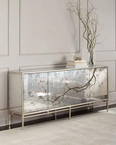 John Richard Collection Falling Branch Eglomise Console Credenzas