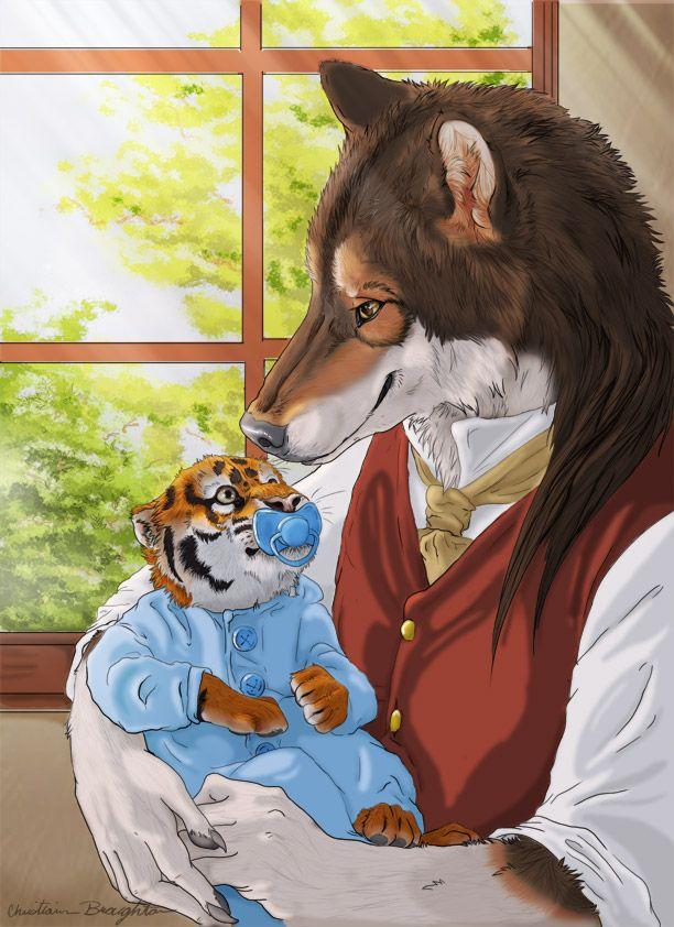 Sharing moments by Aunumwolf42.deviantart.com on @deviantART-----anthro, wolf, tiger, cub, digital art, photoshop,