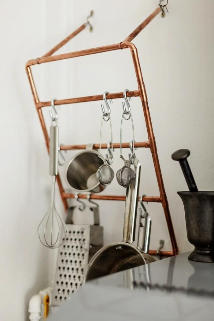 Copper Pipes Used as a Pot Rack