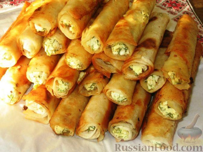 Рецепт: Сигара бёрек из лаваша на RussianFood.com  |  Thin Armenian Lavash (large) - 1.5 pc. Cottage cheese - 450 g Eggs - 3 pcs. Dill - beam Salt Vegetable oil