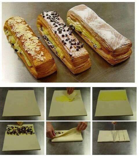 COUQUES SUISSES  Etalez la crème pâtissière sur tout le rectangle de pâte. Egouttez les raisins secs et les répartir dessus Découpez des bandes de 2 cm dans le sens de la largeur du rectangle et roulez-les de pâtes sur elles-mêmes. Placez sur une plaque de four recouverte de papier sulfurisé et laissez reposer 30 minutes. Badigeonnez les couques avec un mélange jaune d'œuf + eau (chouïa)  Préchauffez  à 210°C et enfournez à mi-hauteur pendant 15 minutes. Laissez refroidir puis mettre…
