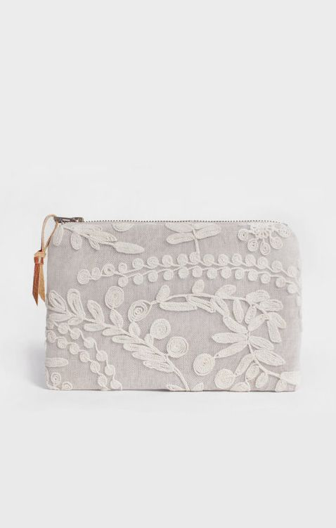 Linen and Lace wedding clutch purse bridesmaid gift
