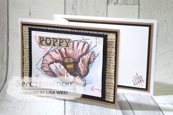 Card made using Sheena A Little Bit Sketchy Wild Poppy Stamp and coloured with Spectrum Noir ColourTint Pencils - Rust, Maize, Chianti, Deep Mauve, Vintage Rose, Adobe, Moss, Warm Grey and Heritage Blue Designed by Lisa West #spectrumnoir #crafterscompanion #coloring #colouring #papercraft #stamping