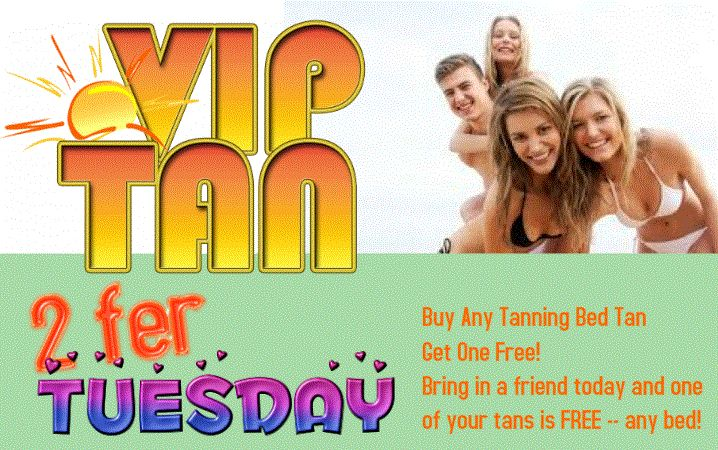 Every Tuesday at VIP Tan Salon in St. Louis MO: Buy Any Tanning Bed Tan - Get One Free! Bring in a friend today and one of your tans is FREE -- any bed! We're open today until 8pm. Come in and tan today!