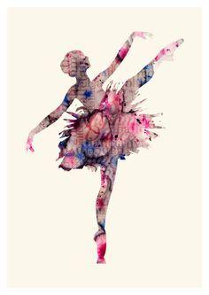 Ballet Art Print - Watercolor Ballerina - Watercolor Ballet Art - Ballerina Wall Poster SIZE: American standards: 5х7 in 8,5х11 in 11х14 in