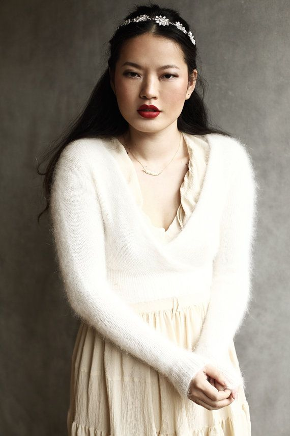 Long Sleeved Angora Wool Ivory Fluffy Knitted by suzybonomini