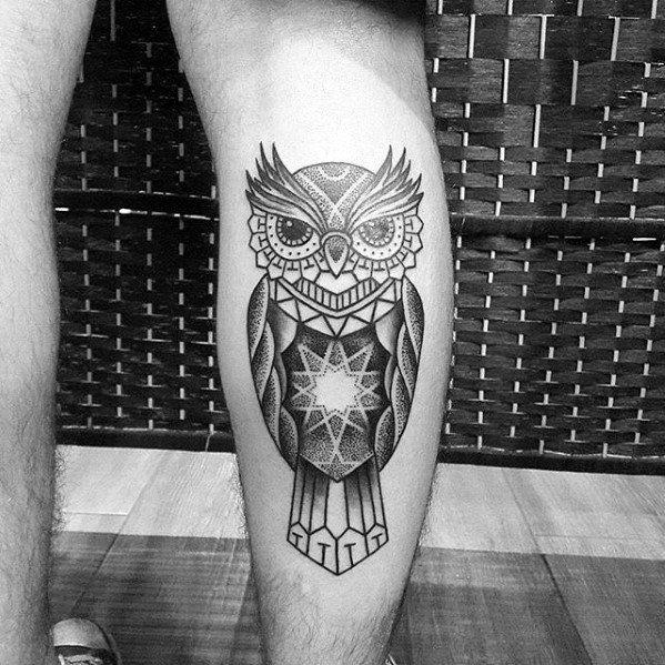 80 Geometric Owl Tattoo Designs For Men Shape Ink Ideas Geometric Owl Tattoo Owl Tattoo Geometric Owl