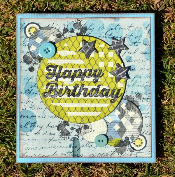 A mixed media card using the FabScraps Teens Collection! ;-)